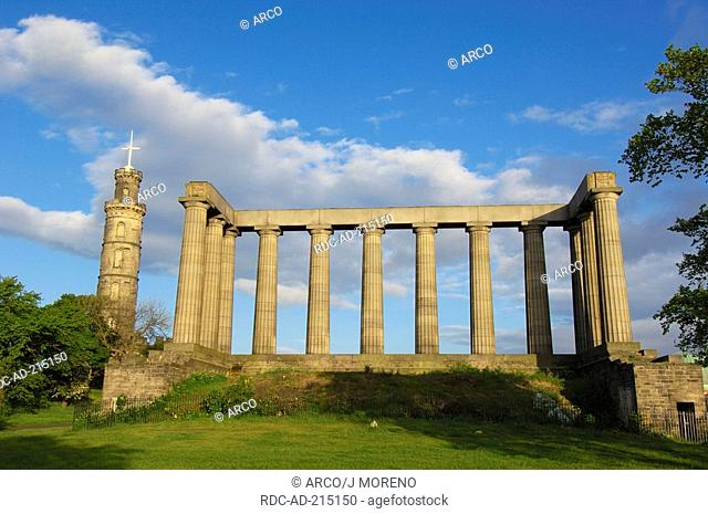 National monument and Nelson's Monument, Calton Hill, Edinburgh, Lothian, Scotland, Napoleonic Wars
