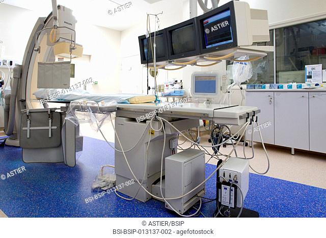 Reportage in the cardiology department of Saint-Philibert hospital GHICL in Lille, France. The coronary angiography room