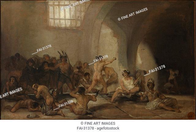 The Madhouse (Asylum) by Goya, Francisco, de (1746-1828)/Oil on wood/Romanticism/ca 1812/Spain/Real Academia de Bellas Artes de San Fernando, Madrid/46x73/Genre