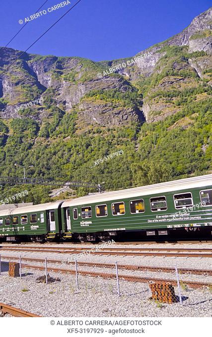 Flam Raiway Locomotive, Flam's Bhan, Aurlandsfjorden Fjord, Flam, Norway, Scandinavia, Europe