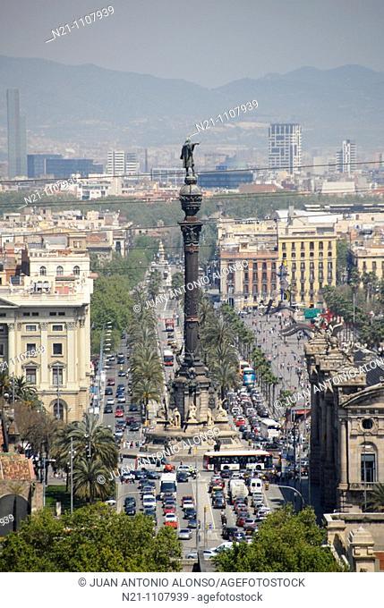 Columbus Monument. Barcelona. Catalonia,  Spain, Europe