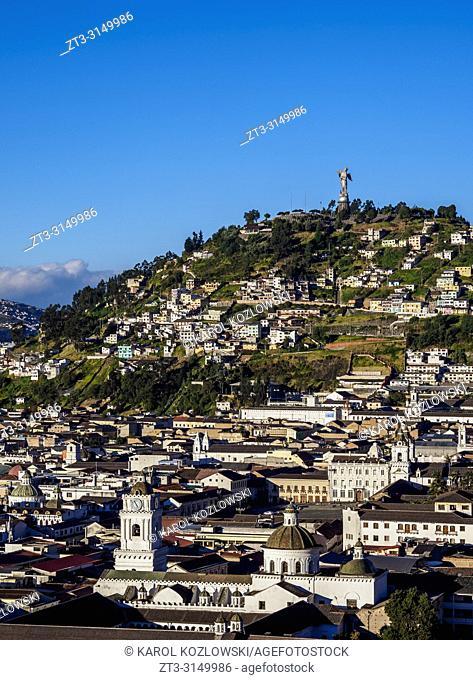 View over Old Town towards El Panecillo Hill, Quito, Pichincha Province, Ecuador