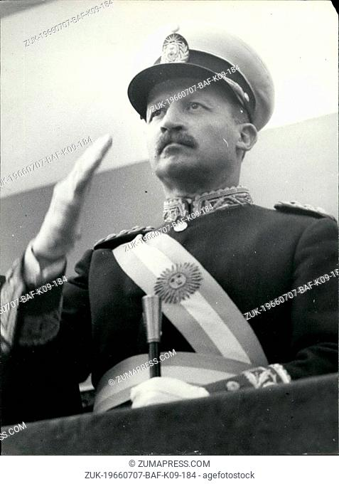 Jul. 07, 1966 - A New Expression Of Argentina's New Premier Buenos Aires; This is an exclusive close up of General Juan Carles Ongania taken during the recent...