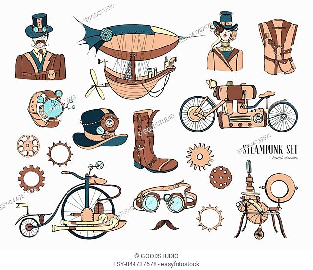 Steampunk objects and mechanism collection: machine, clothing, people and gears, Hand drawn vintage style illustration set