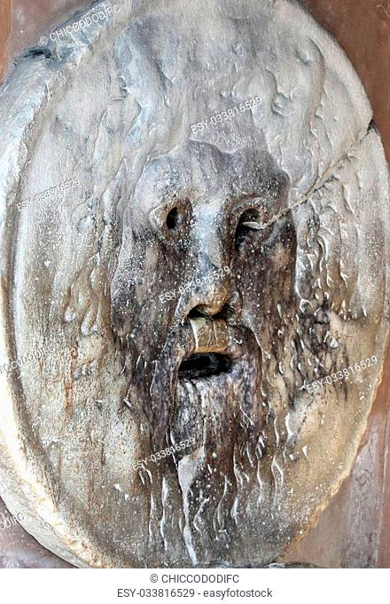 famous big mask called Bocca della Verit? photographed from oblique in Rome italy