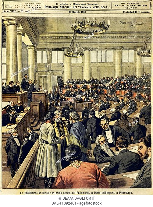 Russian Constitution: The first meeting of Parliament in St. Petersburg. Illustrator Achille Beltrame (1871-1945), from La Domenica del Corriere, 20th May 1906