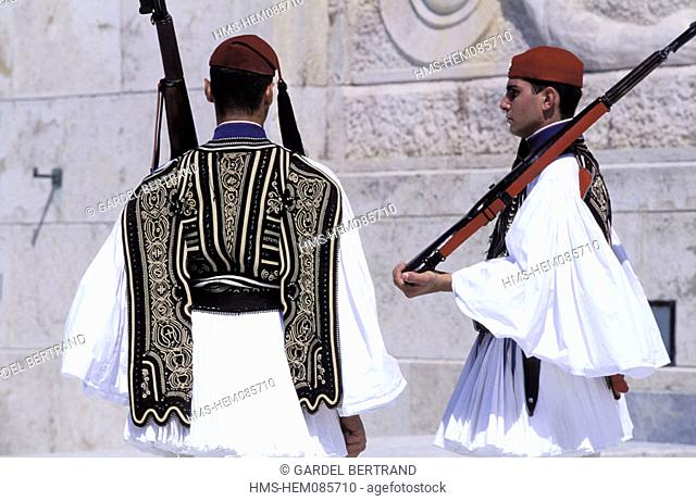 Greece, Athens, Evzones, the old Palace guards, the change of shift