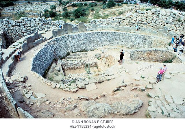 Site of Mycenean fortifications, Greece, c1600-1100 BC. The Mycenaeans were a Bronze Age civilization in the Aegean who reached the peak of their achievements...