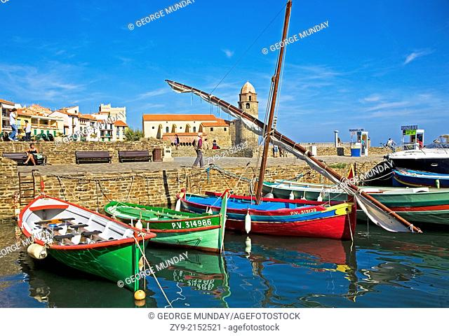 Fishing Boats and Harbour in the Village and Artists Colony, Collioure, Pyrenees-Orientales, France