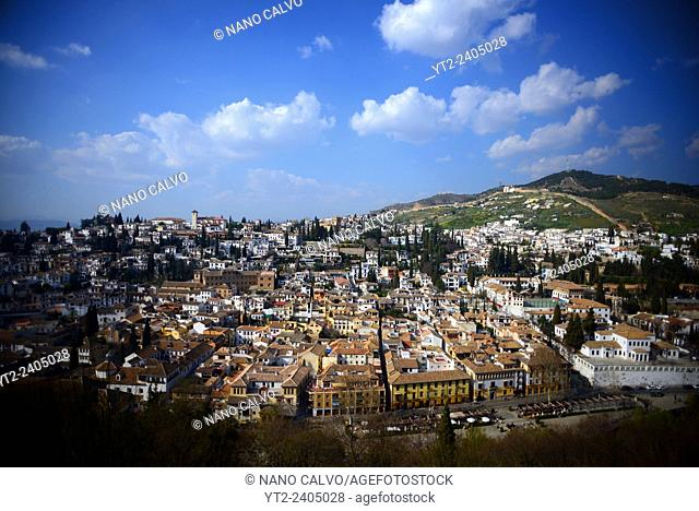 View of town from Nasrid Palaces at The Alhambra, palace and fortress complex located in Granada, Andalusia, Spain