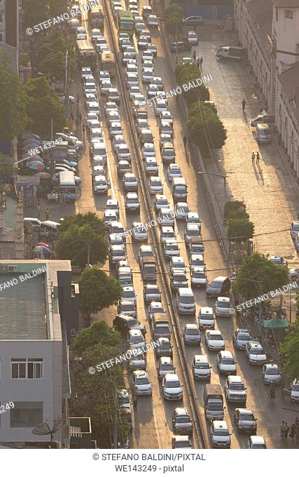 High angle view of traffic jam, Yangon, Myanmar