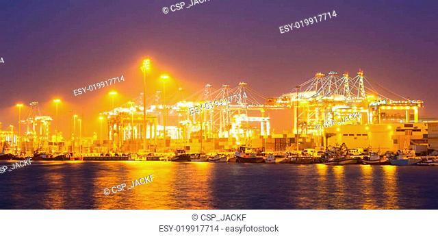 Closeup of cargo port in night
