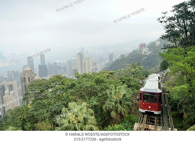 Hong Kong, China, Asia. Peak tramway. The Peak Tramway is a funicular railway in Hong Kong, which carries both tourists and residents to the upper levels of...