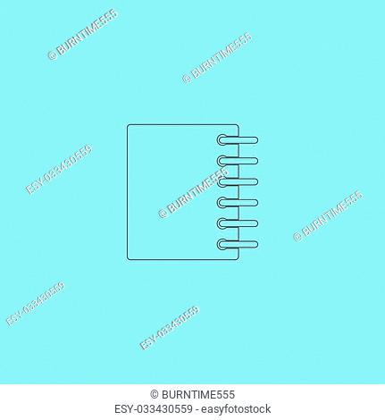 Ring binder calendar notepad. Simple outline flat vector icon isolated on blue background
