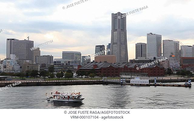 Japan-Yokohama City-Downtown Skyline-Land Mark Bldg. Sunset,boat passing