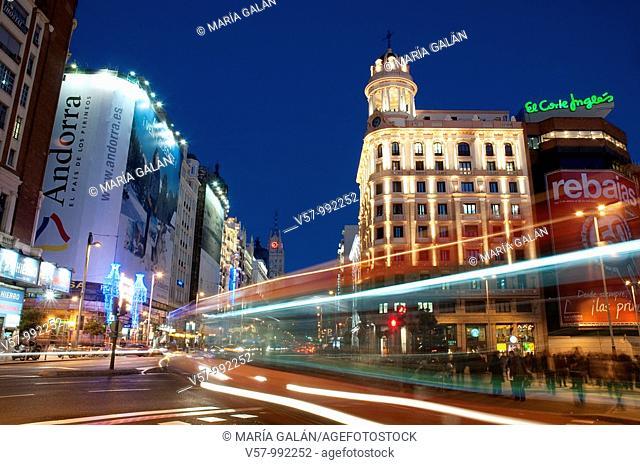 Plaza de Callao and Gran Vía at night. Madrid, Spain