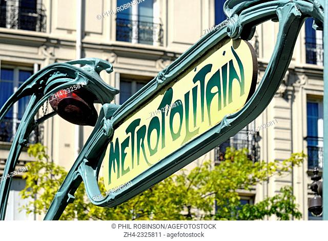 Paris, France. Metro sign - Temple station