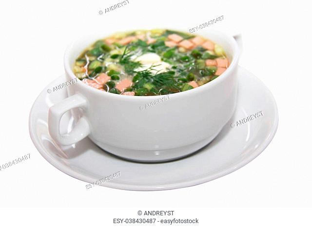 ssian kvass soup with chopped vegetables and meat isolated on white