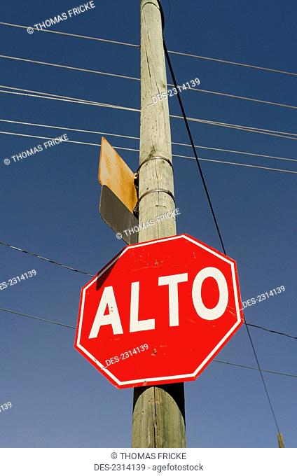 Mexico, Aguascalientes, Stop Sign In Spanish; Aguascalientes