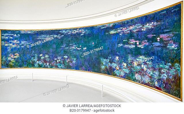 Water-lilies Nympheas series painted by Claude Monet, Musee de L'Orangerie Museum, Tuileries, Paris, France