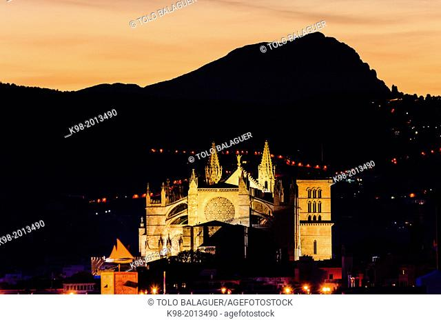 Mallorca Cathedral in the background puig Villamil, XIII Century, HISTORICAL-artistic Monument, Palma, Mallorca, Balearic Islands, Spain