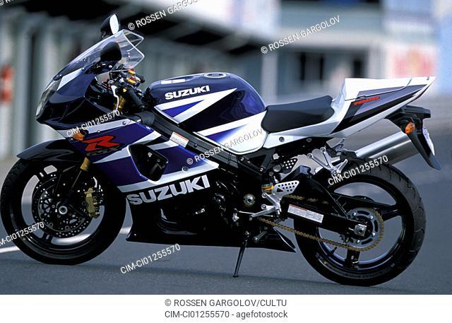 Sports motor cycle, Sportsman, Suzuki GSX-R 1000, blue, model year 2003, standing, upholding, side view, photographer Gargolov