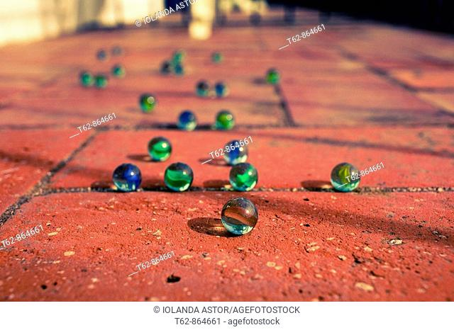 Group of marbles on the floor