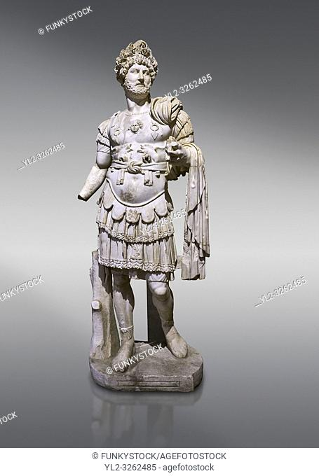 Roman statue of Emperor Hadrian. Marble. Perge. 2nd century AD. Inv no 3730-3728. Antalya Archaeology Museum; Turkey