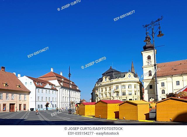 Brukenthal palace, the City hall, Catholic garrison church, at the Large ring, Piata Mare, Sibiu, Romania