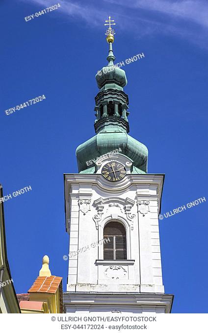 Klatovy, Czech Republic - White Tower, the bell tower of the Archdean parish church of the Nativity of Virgin Mary. Klattau (Klatovy)