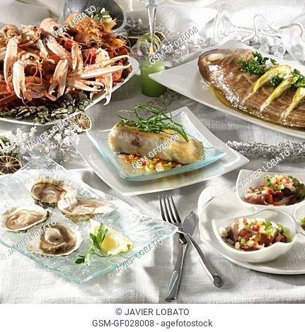 Christmas seafood and fishes still life
