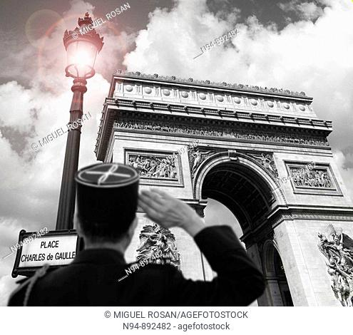 Greeting and homage to the Arc de Triomphe, Paris. France
