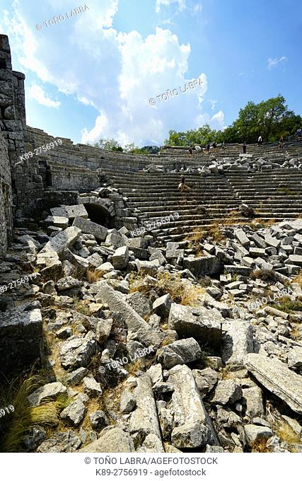 Amphitheater of Termessos. The unexcavated Pisidian city. Ancient Greece. Asia Minor. Turkey