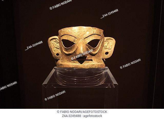 Chengdu, China - December 11, 2018: Golden mask inside the Jinsha museum in Chengdu