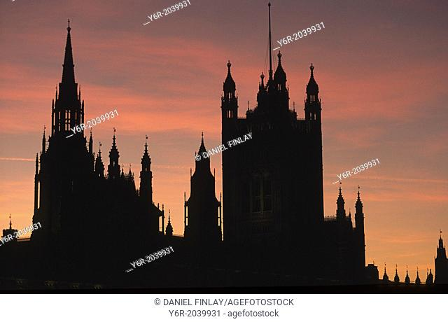 Silhouette of the Houses of Parliament in London, England, seen from Westminster Bridge
