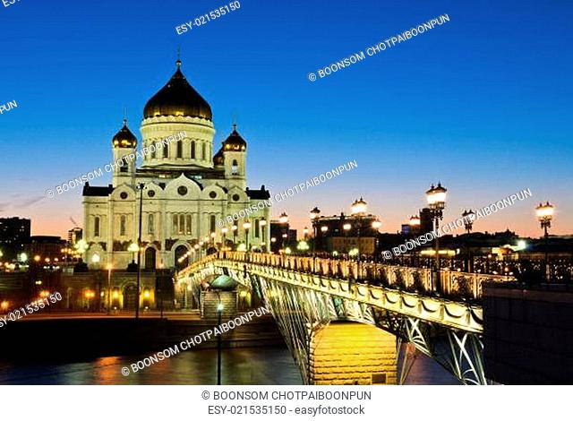 Cathedral of Christ the Saviour illuminated at twilight in Moscow, Russia
