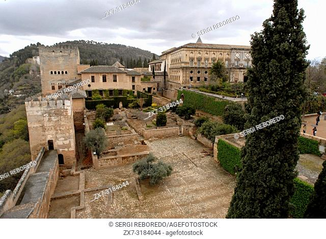 Elevated view of Elevated view of Alcazaba, Alhambra, Granada, Spain