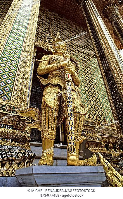 Thaïlande, Bangkok, Wat Phra Kaew situé dans l'enceinte du Palais Royal