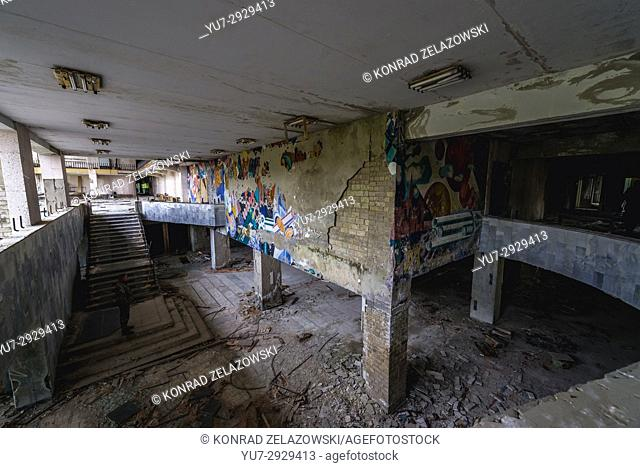 Interior of Palace of Culture Energetik in Pripyat ghost city of Chernobyl Nuclear Power Plant Zone of Alienation in Ukraine