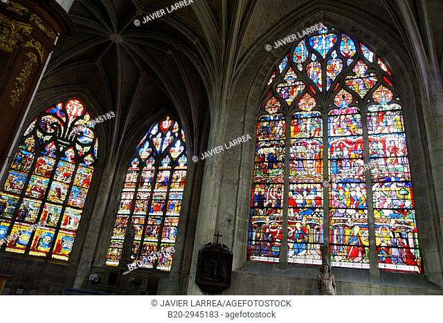 Stained glass windows, Sainte-Madeleine church, Troyes, Champagne-Ardenne Region, Aube Department, France, Europe