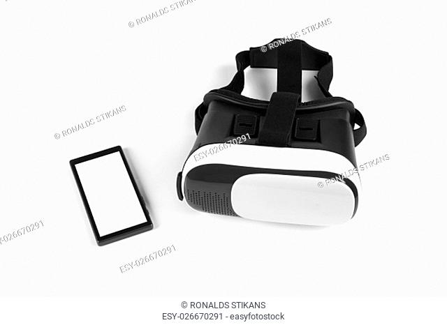 virtual reality headset with blank smartphone on white