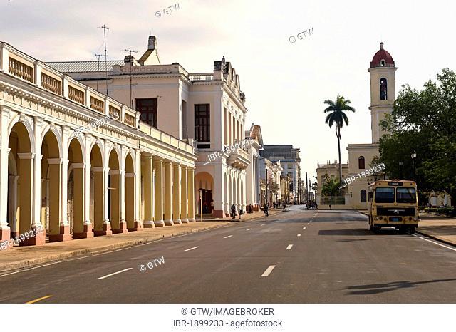 Parque Jose Marti, colonnades, Cienfuegos, Unesco World Heritage Site, Cuba