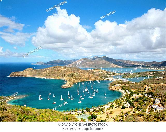 West over English Harbour and Nelson's Dockyard from Shirley Heights on the south coast of Caribbean island of Antigua