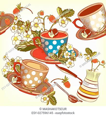 Vector seamless wallpaper with hand drawn cups of tea and strawberry in vintage style