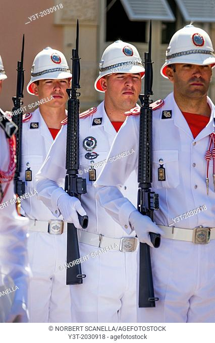 Principality of Monaco, Monte Carlo. Guard prince palace during the changing of the guard