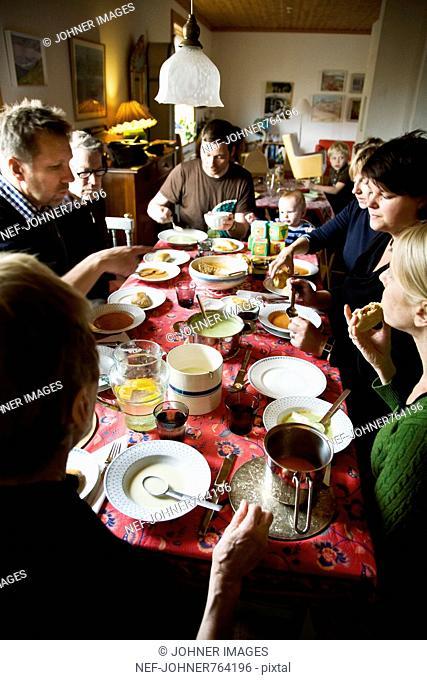 A family having dinner, Sweden