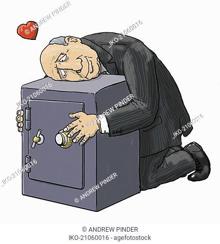 Miser hugging safe