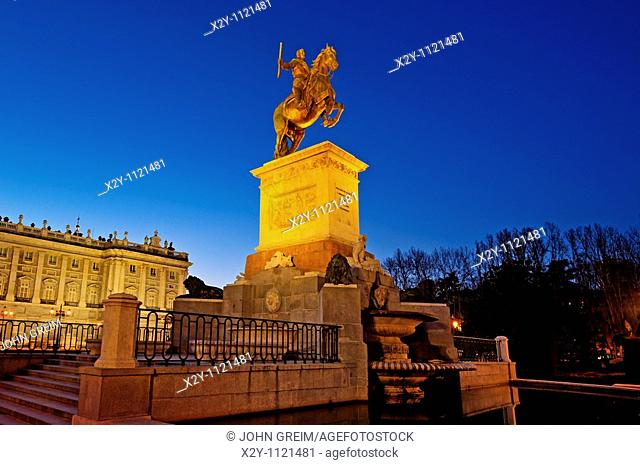 Felipe IV statue at Plaza de Oriente, Madrid, Spain