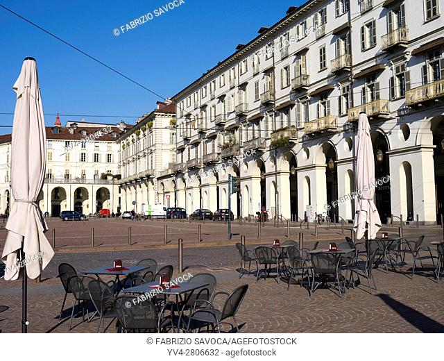Piazza Vittorio Veneto, the largest Baroque square in Europe, Turin, Piedmont, Italy