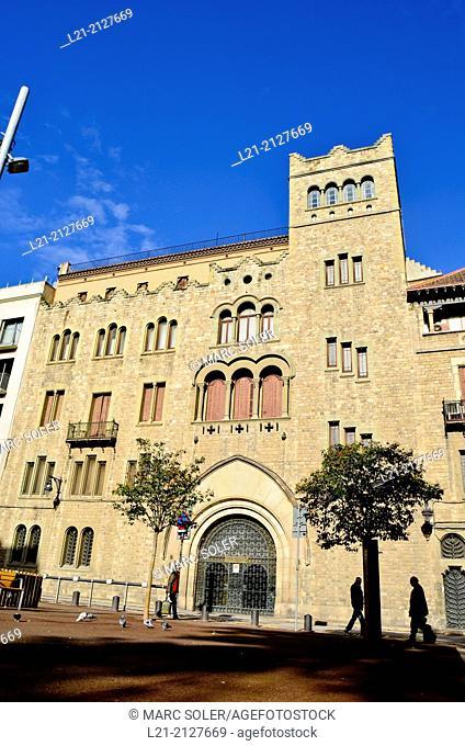 Fundación Balmesiana. Balmes Libray. Constructed in a modern gothic style between 1919 and 1923. Barcelona, Catalonia, Spain